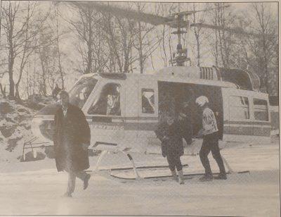 En delegasjon fra hovedsponsoren til UKEN ble flydd inn med helikopter under JappeUKEN.